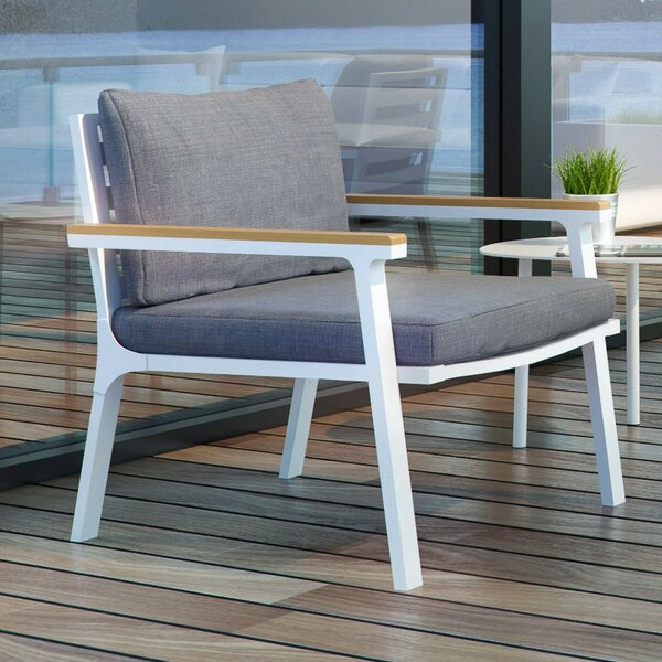 Olga Stacking Teak Patio Dining Chair with Cushion by UrbanMod