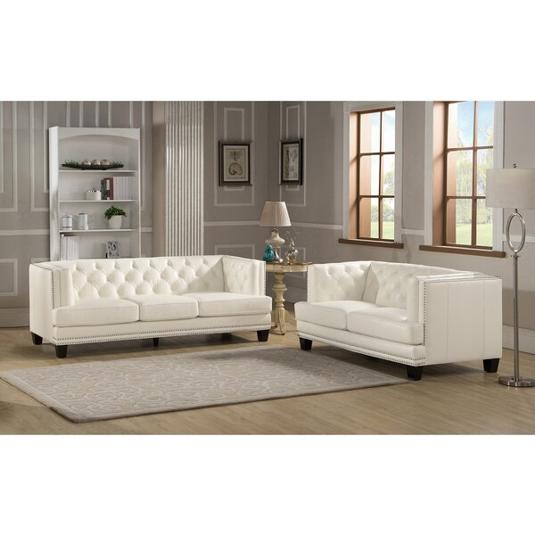 Crewellwalk 2 Piece Leather Living Room Set by Rosdorf Park