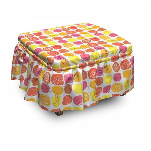 Fruits Retro Food Caricatures 2 Piece Box Cushion Ottoman Slipcover Set By East Urban Home