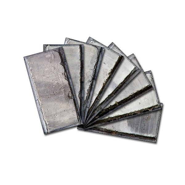Custom Beveled 3 x 6 Glass Subway Tile in Gray by Upscale Designs by EMA