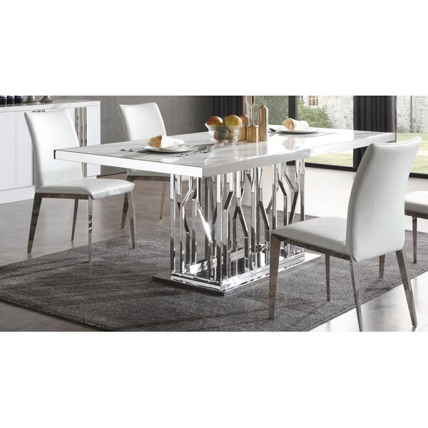 Altus Marble and Stainless Steel Dining Table by Everly Quinn