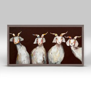 '4 Goats' by Eli Halpin Framed Print of Painting in Chocolate Brown by GreenBox Art