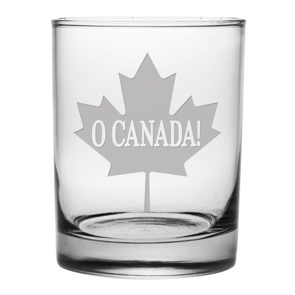 O Canada! Maple Leaf 14 oz. Rocks Glass (Set of 4) by Susquehanna Glass