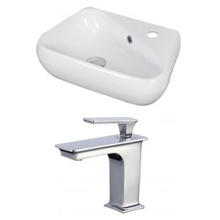 Reviews Specialty Ceramic 19 Wall Mount Bathroom Sink with Faucet and Overflow By American Imaginations