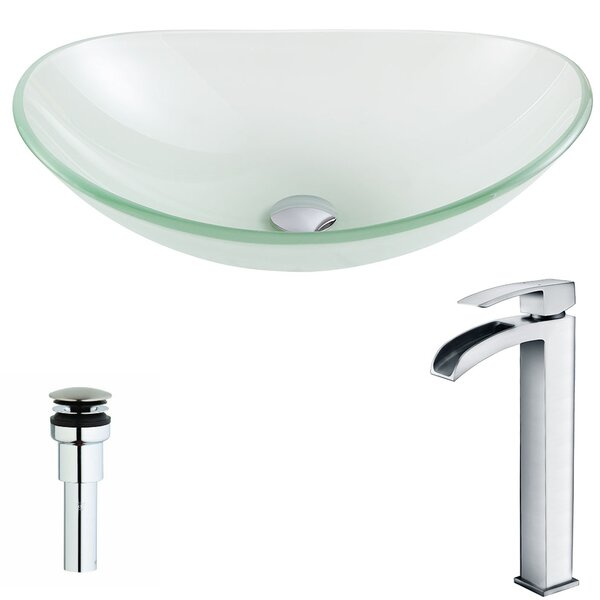 Forza Glass Circular Vessel Bathroom Sink with Faucet by ANZZI