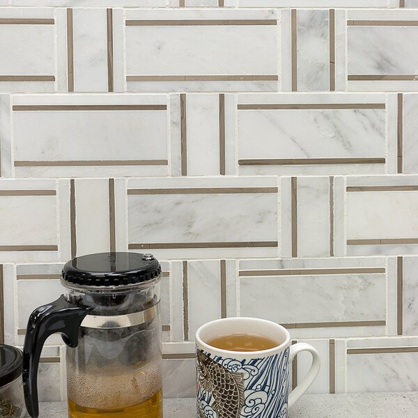 Mingle Random Sized Marble Mosaic Tile in Asian Statuary/Athens Gray by Splashback Tile