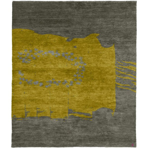 One-of-a-Kind Karole Hand-Knotted Tibetan Yellow/Gray 10' Square Wool Area Rug