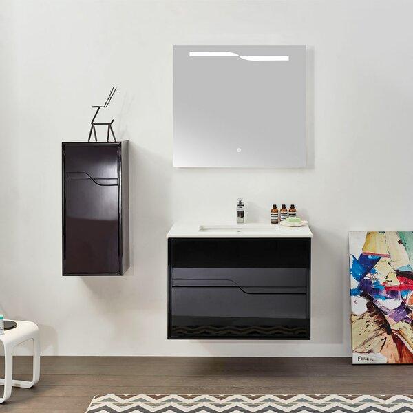 Feuerstein Glossy Black 41.34 Single Bathroom Vanity Set with Mirror