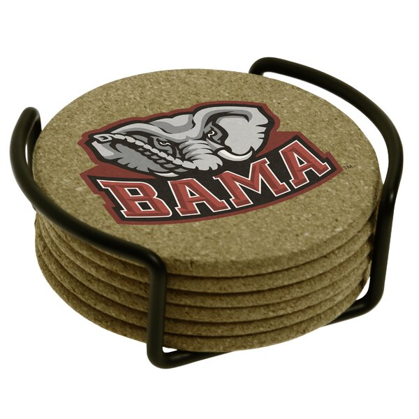 7 Piece University of Alabama Cork Collegiate Coaster Gift Set by Thirstystone