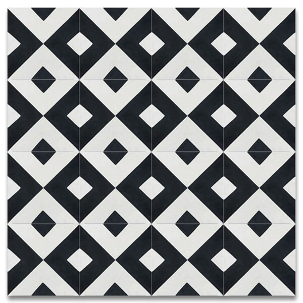 Jadida 8 x 8 Cement Tile in Black and White by Moroccan Mosaic