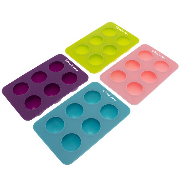 6 Cavity Round Silicone Mold Pan (Set of 4) by Freshware