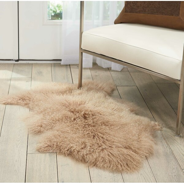 Christine Sheepskin Beige Area Rug by Viv + Rae