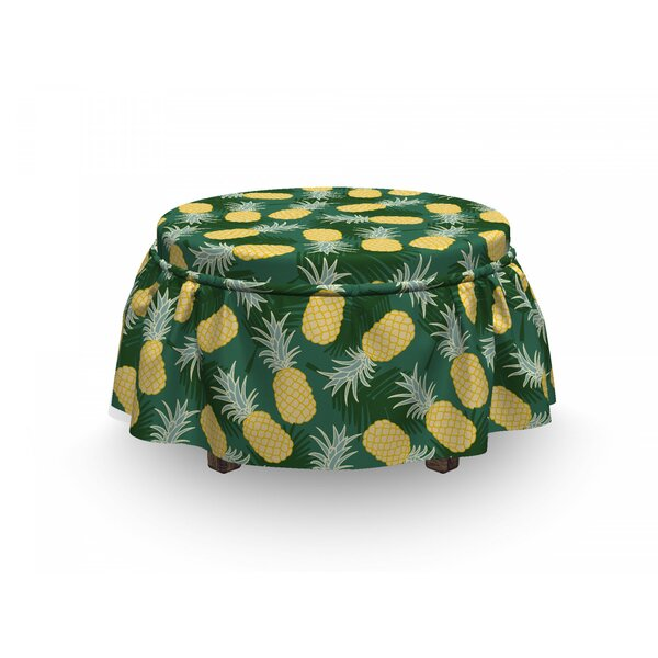 Free Shipping Palm Leaves Pineapples Ottoman Slipcover (Set Of 2)
