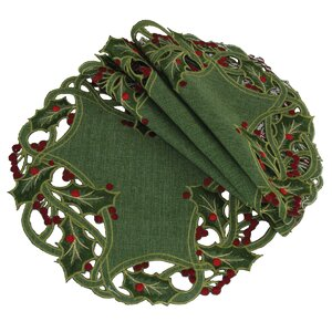 Holiday Holly Embroidered Cutwork Round Doily (Set of 4)