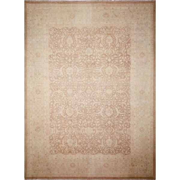One-of-a-Kind Romona Hand-Knotted Rectangle Light Brown Wool Indoor Area Rug by Isabelline