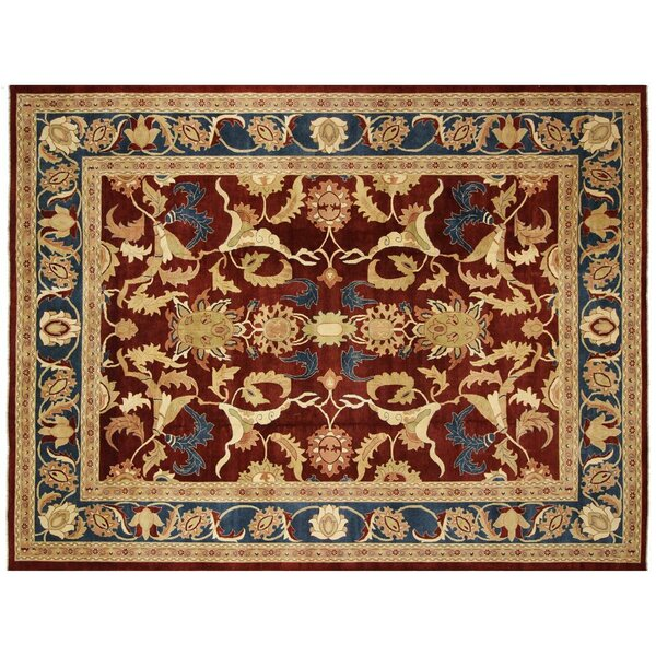 Badham Hand-Knotted Wool Red/Blue Area Rug by Bloomsbury Market