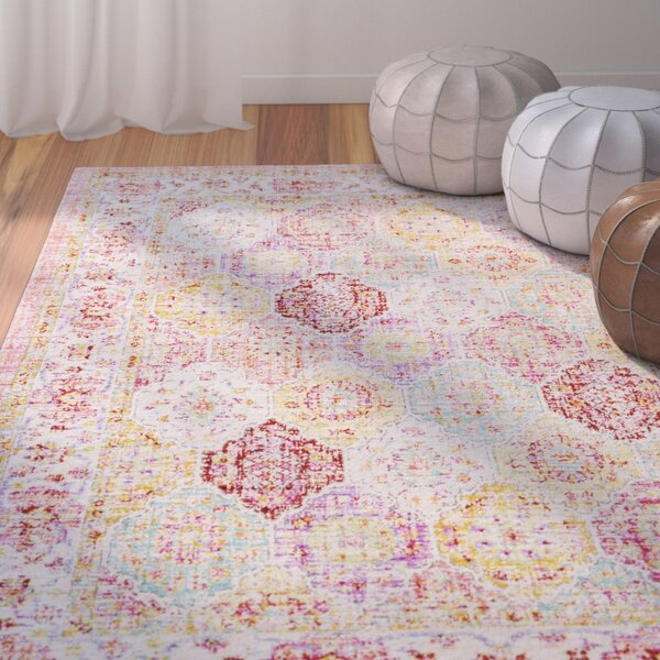 Lyngby-Taarbæk Lilac/Bright Yellow Area Rug by Bungalow Rose