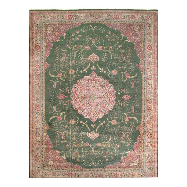One-of-a-Kind Khan Hand-Knotted Green/Pink 16' x 22' Area Rug