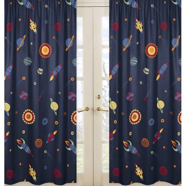 Space Galaxy Semi-Sheer Rod Pocket Curtain Panels (Set of 2) by Sweet Jojo Designs