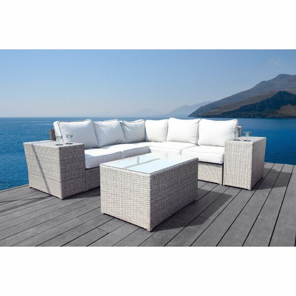 Normandy 8 Piece Rattan Sectional Seating Group with Cushions by Rosecliff Heights