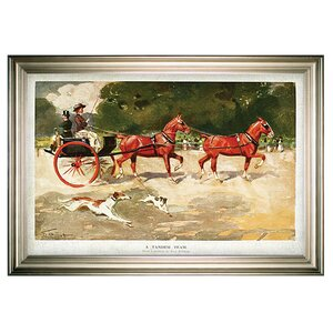 'Horse Drawn Coach' Framed Oil Painting Print on Wrapped Canvas by Darby Home Co