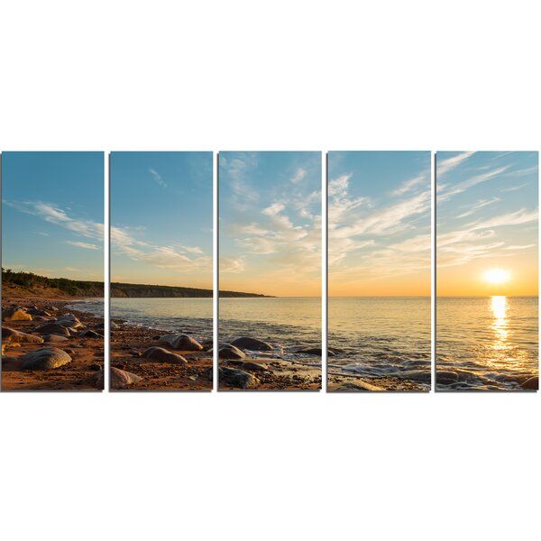 Ocean Shore at Sunrise with Rocks 5 Piece Photographic Print on Wrapped Canvas Set by Design Art