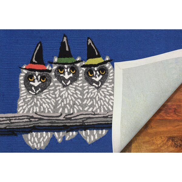 Owl-o-ween Hand-Tufted Blue Indoor/Outdoor Area Rug by The Holiday Aisle