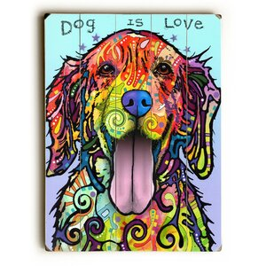 Dog Is Love Wooden Graphic Art by Latitude Run
