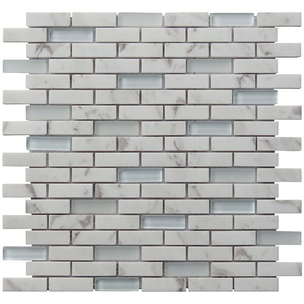 Tranquility 2 x 0.65 Natural Stone Mosaic Tile in White by Intrend Tile