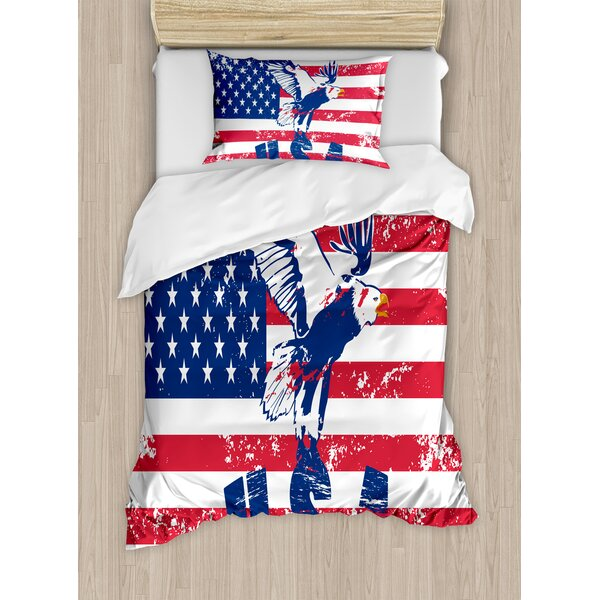Looking American National Flag with Eagle and USA Artistic Print Duvet Set by East Urban Home