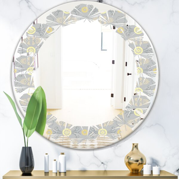 Leaves Cornflower Pattern Coastal Frameless Wall Mirror