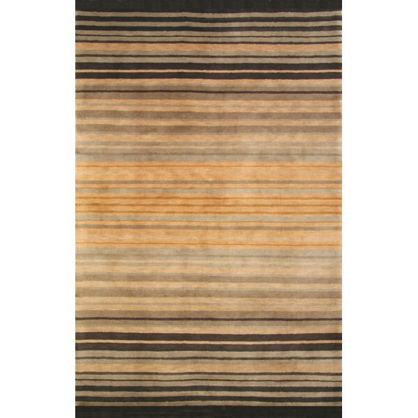 Mystic Hand-Knotted Brown/Black Area Rug by Red Barrel Studio