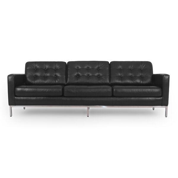 Agostini Mid-Century Leather Sofa by Corrigan Studio