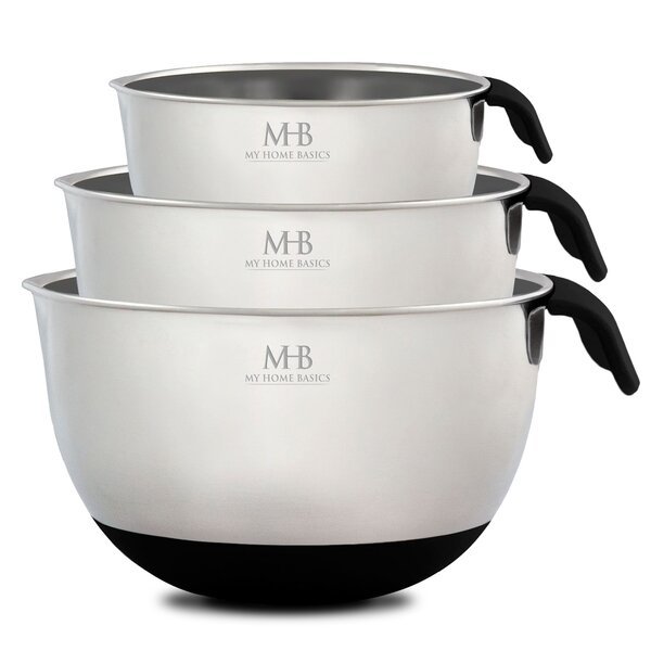 3-Piece Stainless Steel Mixing Bowl Set by My Home Basics