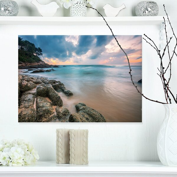 Gloomy Tropical Sunset Beach Photographic Print on Wrapped Canvas by Design Art