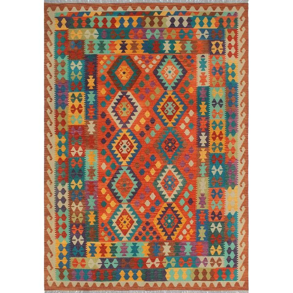 One-of-a-Kind Priston Hand-Woven Wool Rust/Teal Area Rug by Loon Peak