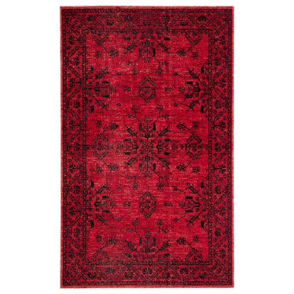 Jamestown Medallion Red/Black Indoor/Outdoor Area Rug by World Menagerie