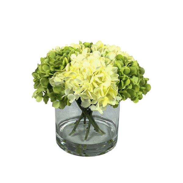 Hydrangea Floral Arrangement in Vase by August Grove