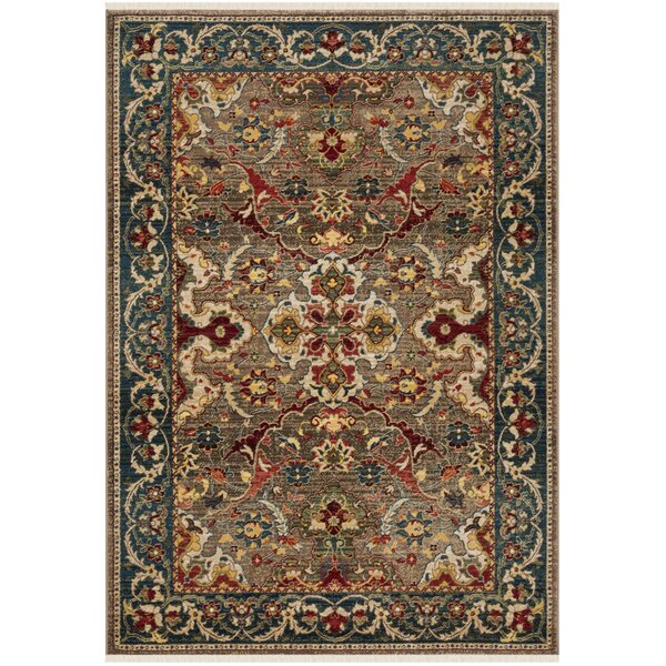 Land Taupe/Blue Area Rug by World Menagerie