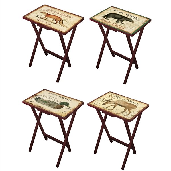 Senneterre Postcards 4 Piece TV Tray Set by Loon Peak| @ $204.99
