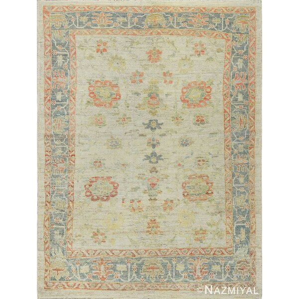 One-of-a-Kind Hand-Knotted New Age Oushak Ivory 6' x 9' Wool Area Rug