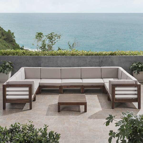Pederson Outdoor 10 Piece Sectional Seating Group with Cushions by Longshore Tides Longshore Tides