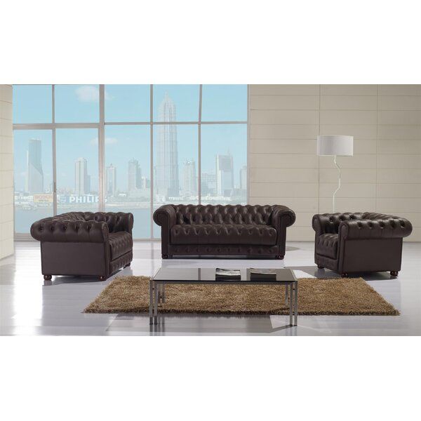 Peggie 3 Piece Leather Living Room Set by Canora Grey