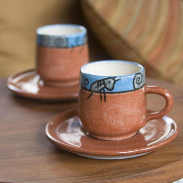 Day in El Salvador Ceramic Cup and Saucer (Set of 2) by Novica