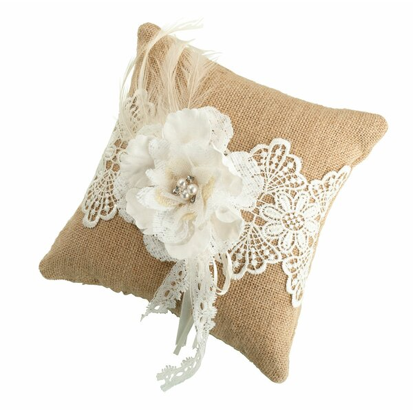 Rustic Burlap and Lace Ring Bearer Pillow by Lillian Rose