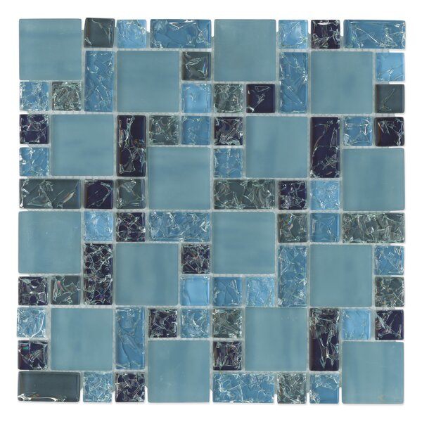 Staccato Mosaic Gloss Matte Tile in Blue by Grayson Martin