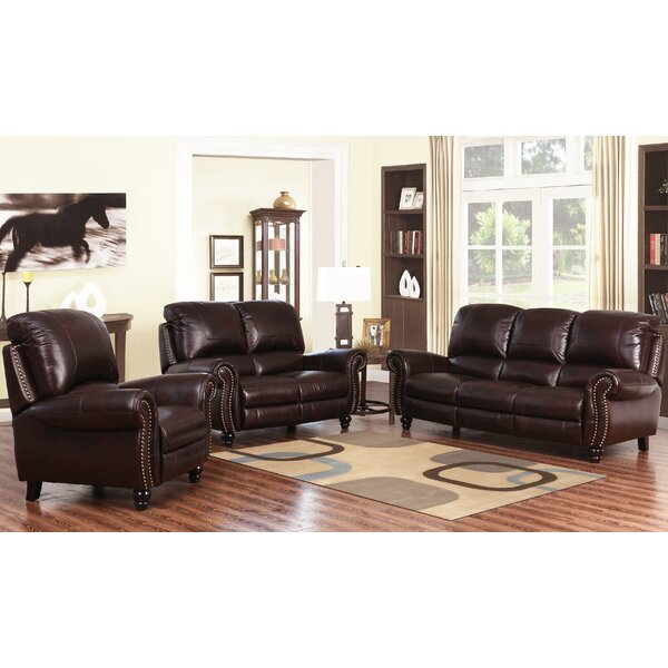 Tanguay Pushback Reclining 3 Piece Leather Living Room by Williston Forge