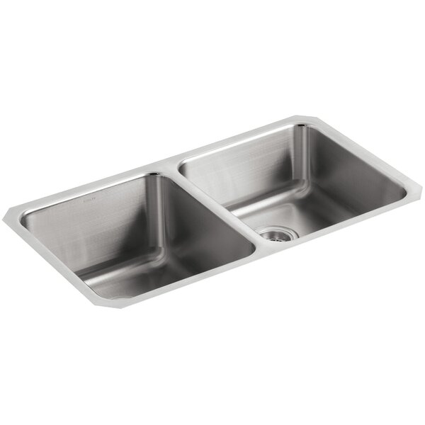 Undertone 31-1/2 L x 18 W x 9-3/4 Under-Mount Double-Equal Bowl Kitchen Sink by Kohler