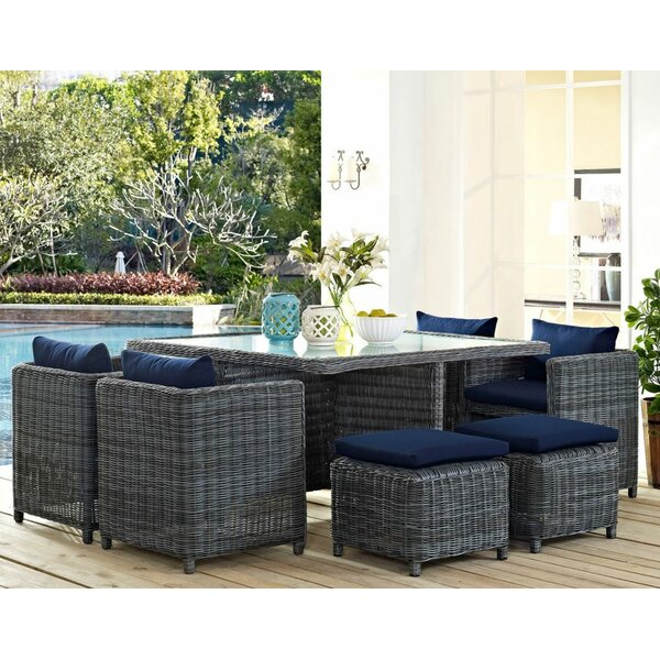 Keiran 9 Piece Outdoor Patio Dining Set with Sunbr