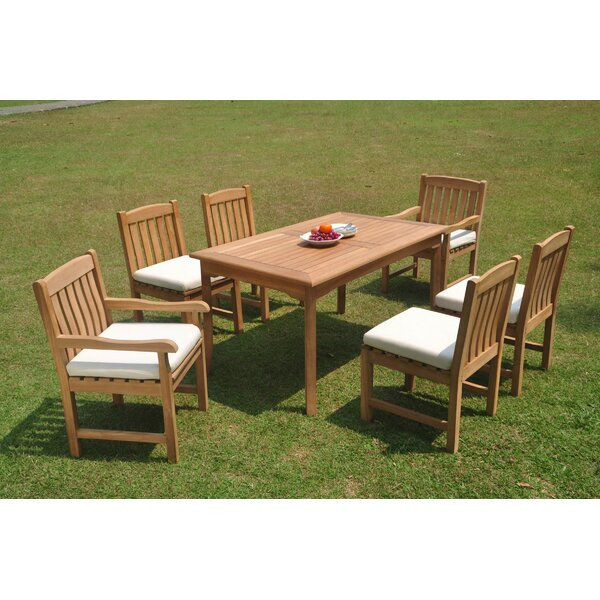 Potrero 7 Piece Teak Dining Set by Rosecliff Heights